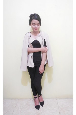 beige cape - black pants - black top - black heels