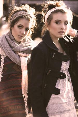 heather gray knitted calvin klein scarf - dark gray Topshop coat