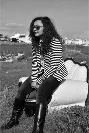 black Bata boots - black Armani Jeans jeans - white H&M blazer