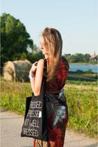 black All Bag bag - burnt orange Yups dress - white Stradivarius sandals