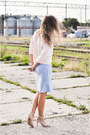 Light-pink-mohito-blouse-sky-blue-yups-skirt-tan-stradivarius-sandals