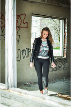 black leather reserved jacket - light blue Yups blouse - black unknown pants