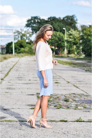sky blue Yups skirt - tan Stradivarius sandals - light pink Mohito blouse