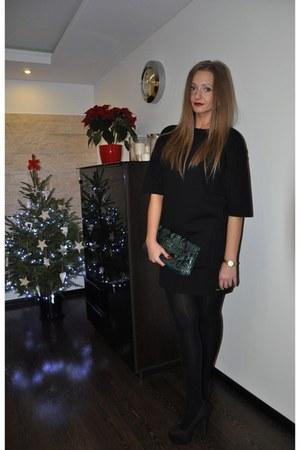 black Mohito dress - dark green Guess bag - gold timex watch