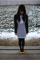 blue Forever 21 dress - gray Wet Seal cardigan - gray Target tights - gold Salva