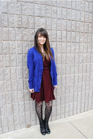 red Target dress - blue Franchescas cardigan - black Target tights - black Urban