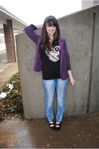 purple Urban Outfitters blazer - black lucca shirt - blue H&M jeans - black Urba