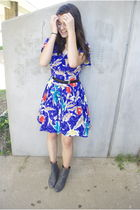blue Salvation Army dress - gray Aldo boots - black Salvation Army belt
