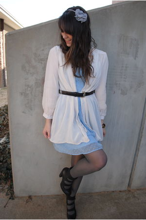 blue Rodarte for Target dress - beige Topshop blouse - black Goodwill belt - gra