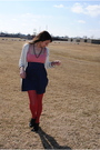 Blue-charlotte-russe-dress-red-target-tights-white-charlotte-russe-cardigan-