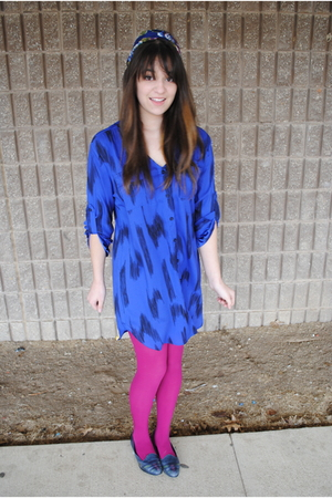 blue Urban Outfitters dress - pink Target tights - blue Salvation Army shoes - b