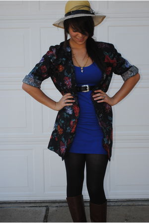 blue Target dress - black Salvation Army blazer - black Walmart tights - beige S