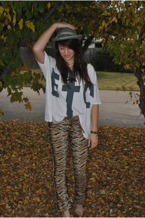 white Urban Outfitters shirt - gold Goodwill pants - gray Katys hat - nude Targe