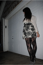 white good will blouse - white vera wang skirt - black Target tights - gray BC s