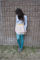 gray banana republic sweater - white Target skirt - Target tights - yellow Salva