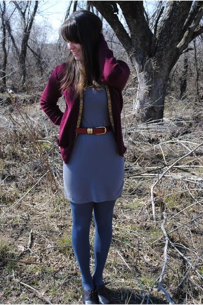 red Urban Renewal cardigan - gray Target dress - red good will belt - blue Targe