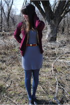 red Urban Renewal cardigan - gray Target dress - red good will belt - blue Targe