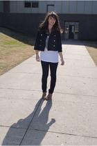 blue Delias jacket - blue H&M jeans - white Charlotte Russe top - beige jeffrey