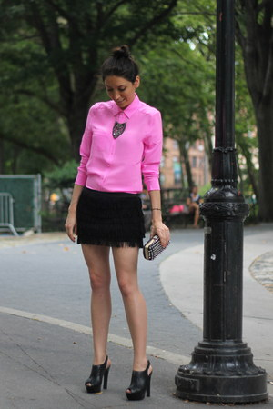 hot pink silk Joe Fresh shirt - Zara bag - black Zara shorts