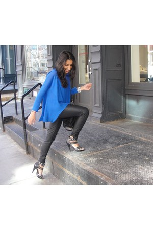 studded Aldo shoes - cobalt asoscom sweater - chained Zara bag - faux leather Fo