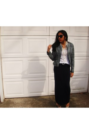 chanel-esque Express jacket - maxi Top Shop skirt - white H&M t-shirt - leopard
