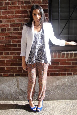 white linen H&M blazer - paisley Zara pants - blue ikat banana republic top - co