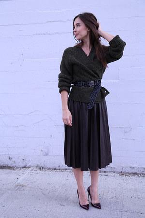 JCrew sweater - vintage belt - Zara skirt - Manolo Blahnik pumps