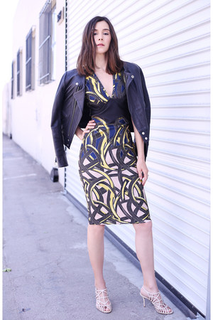 yigal azrouel dress - Maje jacket - Prada sandals