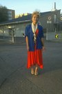 Gina-tricot-dress-vintage-shirt-ysl-scarf-from-thailand-flats