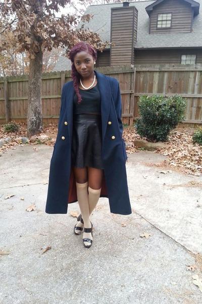 black patent leather calvin klein heels - navy unknown coat