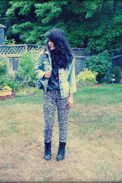 white Hot Topic pants - light blue J Crew jacket - dark gray H&M shirt