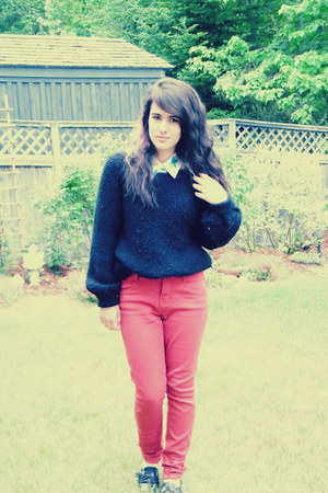 black zellers sweater - ruby red Stitches jeans - white second hand blouse