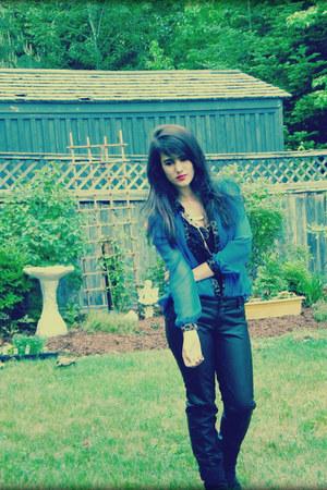 blue romwe blouse - black Call it Spring boots - black romwe pants