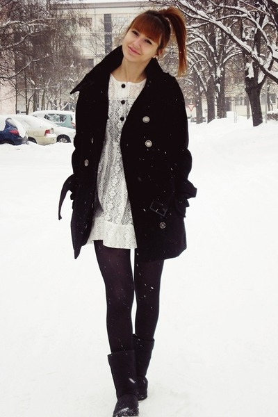 black New Yorker coat - black boots - china doll boutique dress