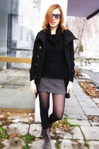 boots - coat - sweater - sunglasses - skirt
