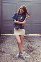 gray blouse - navy jacket - beige skirt - silver Puma sneakers
