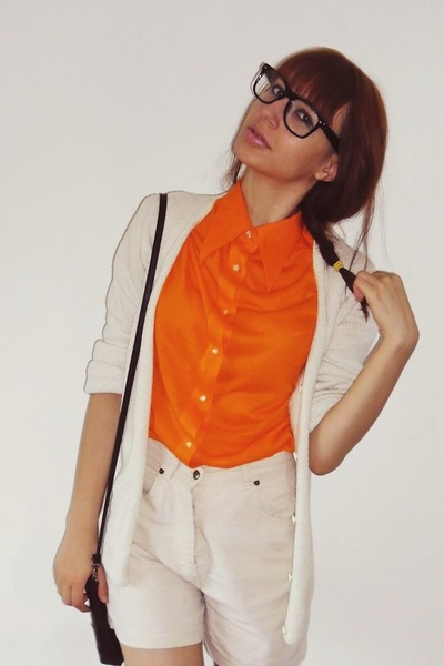 black glasses - black bag - beige shorts - carrot orange skirt - beige cardigan