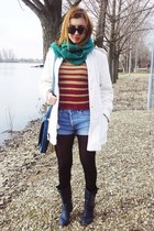 navy boots - white coat - brick red sweater - green scarf - navy bag