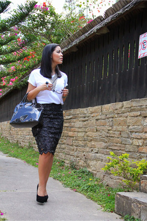 black Mango bag - white shirt Old Navy shirt - black Steve Madden heels