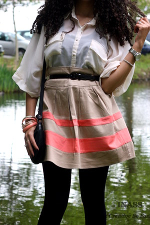 colorful Primark skirt - Micheal Kors watch - romantic Primark blouse