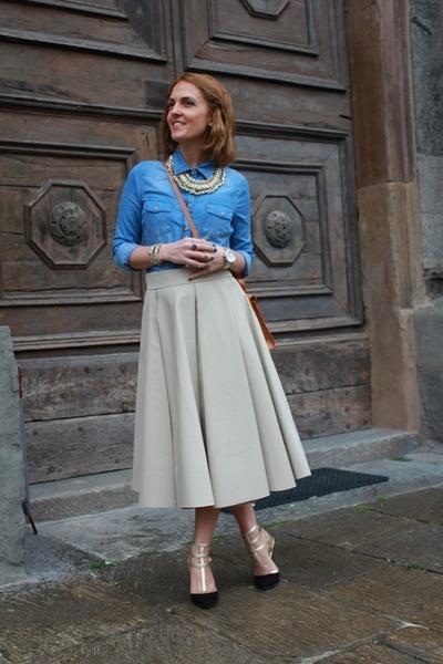 Alberta Ferretti skirt - Mango shirt - Aliviero Martini bag - Fornarina heels