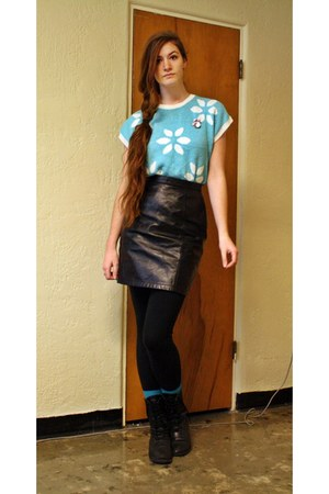 black skirt - black boots - turquoise blue socks - sky blue knit floral blouse