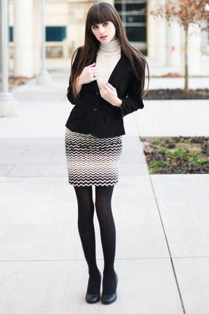 ivory lace turleneck sweater - black blazer - black tights - black skirt