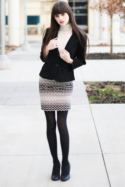 ivory lace turleneck sweater - black blazer - black tights - black skirt