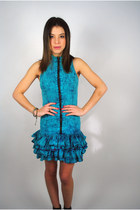 Vintage 1990s sleeveless blue Acid Wash zipup  plaid tiered ruffle dress