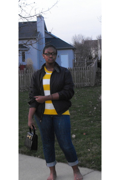 black Nautica jacket - Gap sweater - Old Navy jeans - vintage purse