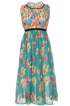 beach everyday vintage Floral Sleeveless Chiffon Maxi Dress