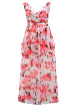 Beach everyday vintage Floral Print Bohemian Maxi Chiffon Dress