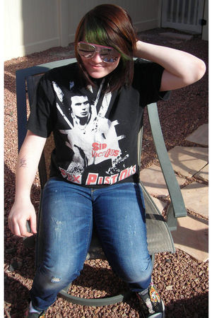 black Hot Topic t-shirt - blue Gap jeans - black Ed Hardy shoes - red sunglasses