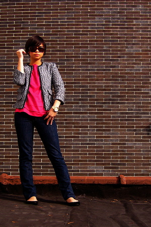 Express jacket - Old Navy blouse - JCrew shoes - Serfontaine jeans jeans - Fossi